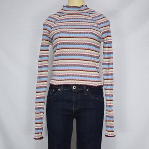 Free People | MultiColored Stitched Long Sleeve XS